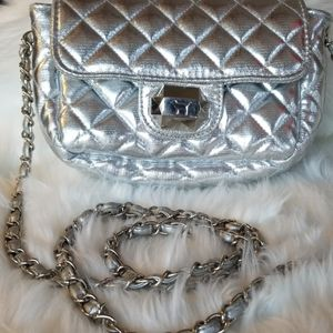 Pink VS Silver Quilted Faux Leather Xbody